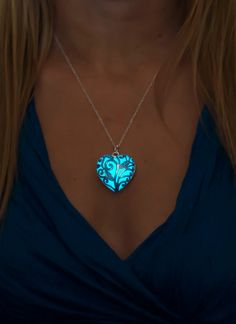 Aqua Glowing Heart Necklace - Glow in the Dark Jewelry by EpicGlows #Valentines day #glowing #necklace