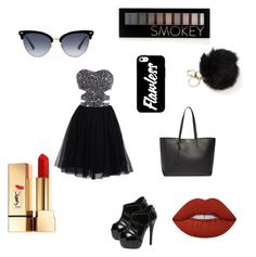 """""""Geen titel #12"""" by michy09 ❤ liked on Polyvore featuring WithChic, Yves Saint Laurent, Gucci, Forever 21 and Lime Crime"""