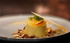 A fruity Panna Cotta Dariole Moulds, Panna Cotta, Rosemary Roasted Potatoes, My Kitchen Rules, Coconut Candy, Peach Puree, Peach Bellini, Pastry Brushes, Egg Whisk