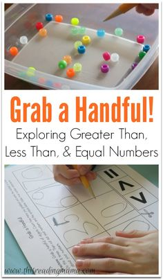 UGrab a Handful - A Hands-On way to Explore Greater Than, Less Than, and Equal Numbers {FREE printable!} | This Reading Mama