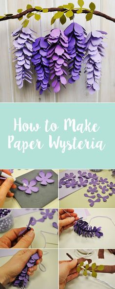 Bring spring into your home with this handmade hanging paper wysteria deocration. In this Sizzix step-by-step tutorial, we'll show you how to make it from scratch using new Sizzix dies. Paper crafts and paper flowers papercrafting paperart paperflowers Crepe Paper Flowers, Felt Flowers, Diy Flowers, Fabric Flowers, Paper Flowers How To Make, Hanging Paper Flowers, Paper Flower Decor, Paper Flowers Wedding, Flowers Decoration
