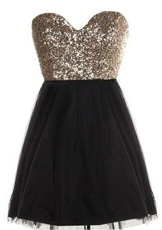 Glitter Fever Dress: Features a charming sweetheart neckline, glittering gold sequin bodice, centered rear zip closure, and a swanky black A-line skirt to finish.