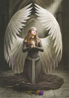 """""""Prayer for the Fallen"""" Angel Card by Anne Stokes"""