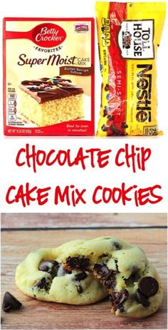 Try these quick and easy cake cookie recipes for any occasion Chocolate Chip Cookie Recipe! These Easy Cake Mix Cookies are SO delicious! Just 4 ingredients! Cake Box Cookies, Cake Mix Cookie Recipes, Yellow Cake Mix Cookies, Cake Recipes, Cake Batter Cookies, Cake Mixes, Box Cake, Sandwich Cookies, Yummy Cookies