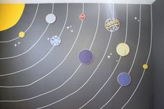 solar system feature wall2 - the how-to....embroidery hoops with fabric, pinstriping tape for the circles.