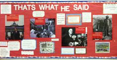 A bulletin board for my American Government class - perfect to display great quotes from presidents.  And a little entertaining too. bulletin board, quote boards, social studi