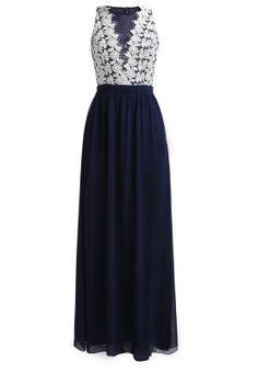 Długa sukienka - navy/white