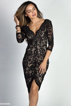 V Neck Black Lace Midi Cocktail Dress with Sleeves