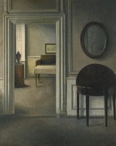 Vilhelm Hammershøi (1893-1894) - Interior With A Mirror Oil on canvas (72 x 58 cm)