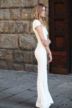 White tight long maxi dress, super cute!