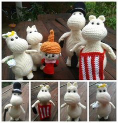 The Moomin Family. Project info and pattern links here; http://www.ravelry.com/projects/LindaDavie/amigurumi-moomin