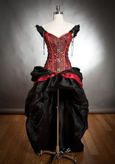 I found 'Private listing for Holland Black and Red Steampunk Burlesque corset with train prom dress' on Wish, check it out!