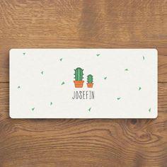 Leuk geboortekaartje met leuk cactussen op - FluffyCloud Geboortekaartjes