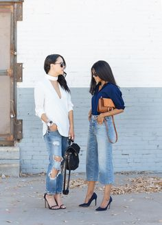 Look who's wearing McGuire Denim! Our Culottes look great paired with that blue top. #love #denim