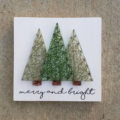 Items similar to Made to Order String Art Merry & Bright Christmas Tree Sign on Etsy Etsy Christmas, Christmas Art, Christmas Decorations, Xmas, String Art Diy, Art Carte, Wood Projects For Kids, String Art Patterns, Pin Art
