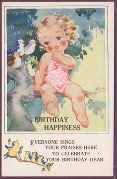 AGNES RICHARDSON LITTLE GIRL IN TREE WITH BIRDS BIRTHDAY WISH