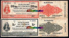 Surinam (Duch Guiana) banknotes - Surinam money catalog and Surinamese currency history. Please double click for site.