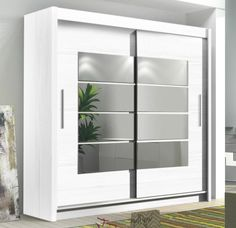 INSTRUMENT ROOM4 WHITE Modern Large Wide Tall 2 Sliding Door Mirrored Wardrobe