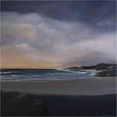 """Seascape/Storm Painting on Canvas - www.janamcleod.com """"Endless Dawn"""" Size 1.16m x 1.16m Acrylic on stretched canvas by Jana McLeod"""