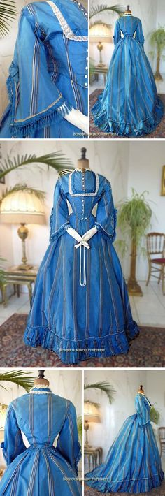 Afternoon dress ca. 1867. Two pieces. Blue silk with blue & white stripes. Skirt cut straight in front, back ending in a train. Bodice closes in front with 10 buttons. Lace-trimmed collar and chest. Pagoda sleeves with fringe, lace, and blue ribbons. Antique-Gown