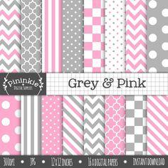 Grey & Pink Digital Paper Pack