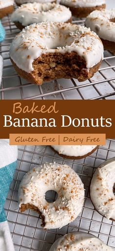 These healthy banana donuts are super easy to make, grain free, dairy free and delicious! They consist of a cassava flour and almond butter cake donut, topped with a coconut cream icing. This banana donut recipe is Paleo, Vegan and gluten free! #bananadonuts #paleodonut #vegandonut #cassavaflour Super Easy Donut Recipe, Vegan Donut Recipe, Paleo Donut, Healthy Donuts, Healthy Vegan Desserts, Vegan Dessert Recipes, Paleo Vegan, Eggless Recipes, Donut Recipes