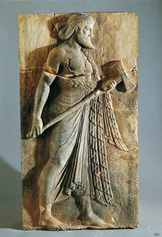 Vulcan (Hephaestus), Roman relief (marble), from Herculaneum, c. 1st century BC - 1st century AD.