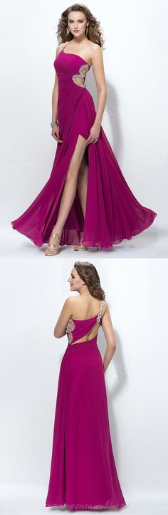 Purple Prom Dresses, Long Prom Dresses, A-line Prom Dresses One Shoulder, Chiffon Ankle-length Prom Dresses with Split Front