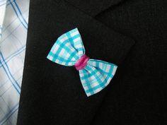 Blue Gingham Bow Lapel  Gingham Bow Lapel  Blue Bow by MayCheang