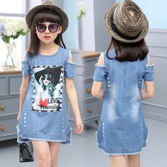 Children Dresses For Girls Denim Dress Strapless Dress Pattern Girls Clothing Sh. - - Children Dresses For Girls Denim Dress Strapless Dress Pattern Girls Clothing Short Sleeve Child Clothes Denim T-Shirts 2019 New Collection Models Lad. Baby Girl Fashion, Fashion Kids, Womens Fashion, Little Girl Dresses, Girls Dresses, Girls Denim Dress, Denim Dresses, Demin Dress, Girls Jeans