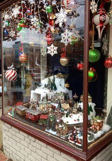 50 Christmas Village Window Display Ideas - Home to Z - - Christmas Decorations Uk, Christmas Village Display, Christmas Store, Christmas Villages, Christmas Diy, Xmas, Holiday Decor, Christmas Windows, Christmas Shopping