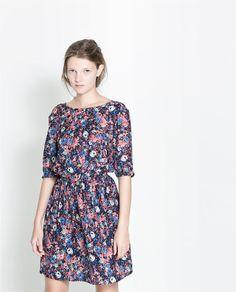 2014 Primavera / Outono novo estilo de moda Impress?o Flor Mulheres Vestido manga comprida Slim Fit Vestido de Mulheres de envio ! Grátis! e...
