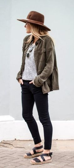 A cozy shirt layered under a cool cargo jacket. Top the look off with a sleek hat.
