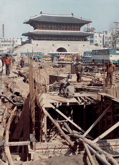 subway construction Nam dae Moon Seoul Korea 1980