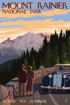 Mount Rainier National Park - Road to Sunrise - Lantern Press Poster