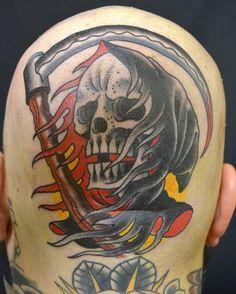 Grim reaper tattoo by Lagergren.