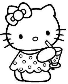 hello kitty was drinking delicious coloring page hello kitty coloring pages kidsdrawing free coloring pages online - Kitty Coloring Page