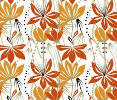 'Liljat, red' custom made fabric design by English/Finnish designer Mirjamauno, © 2014.
