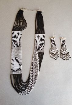 Items similar to Southwestern monochrome long loom seed beads jewelery set tiger, unique jewelry on Etsy Southwestern monochrome long loom seed beads jewelery set Seed Bead Jewelry, Bead Jewellery, Seed Bead Earrings, Beaded Earrings, Jewelery, Beaded Bracelets, Seed Beads, Jewellery Making, Bead Earrings
