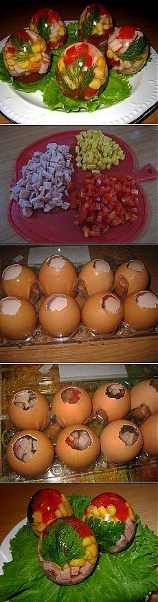 Как приготовить заливные яйца - рецепт, ингридиенты и фотографии