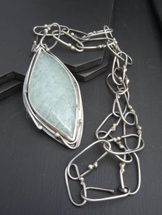 Necklace Oxidized Sterling Silver and Aquamarine Cabochon