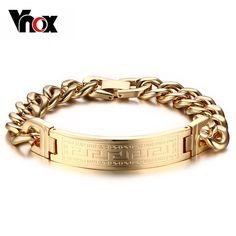 Vnox Greek Key Pattern Bracelets Men's Stainless Steel Charm Chain Gold-color