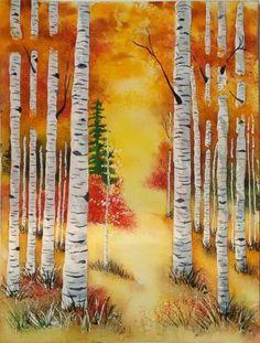 Fall painting Ideas: Watercolor Aspen Trees