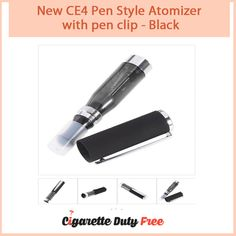 Black New CE4 Pen Style Atomizer with pen clip - http://www.cigarettedutyfree.com/english/new-ce4-pen-style-atomizer-with-pen-clip-black.html