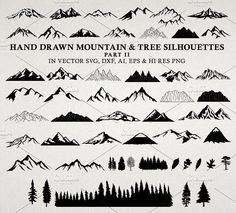 Hand Drawn Mountains and Trees 2 by Seaquint on @creativemarket Mountain Art, Watercolor Trees, Watercolor And Ink, Watercolor Tattoo, Mountain Drawing Simple, Simple Mountain Tattoo, Tree Drawing Simple, Mountain Tattoos, Tattoo Ideas