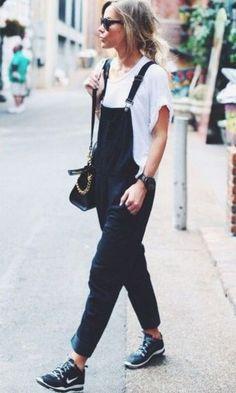 Look: Jardineira Jeans + Tênis