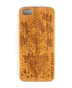 Batty Blossom Wood Phone Case for iPhone 5/5s.  Available online from the Creep Heart store (www.creepheart.com.au).   Artwork by Ella Mobbs.   Laser etching by Vector Etch (http://www.vectoretch.com.au/).