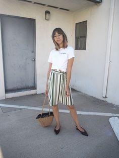 Unconscious Style || Stephanie Arant @shhtephs Striped Wrap Skirt – J.O.A | Bad Habits Tee – TopShop | Slingback Pointed Toe Flats – H&M | Pom Pom Basket Bag – Zara