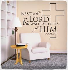 Rest in the Lord - Wall Decal Sticker Psalm 37:7 Christian Bible Quote Verse. £12.00, via Etsy.