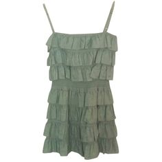 Pre-owned Dolce&gabbana Green Dress ($101) ❤ liked on Polyvore featuring dresses, green, frilly dress, travel dress, short ruffle dress, ruffle dress and flutter dress